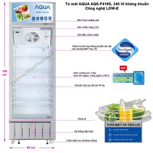 Kích thước tủ mát AQUA AQS-F418S, 340 lít kháng khuẩn LOW-E