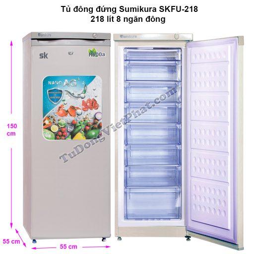 Kích thước tủ đông đứng Sumikura SKFU-218, 220 lít