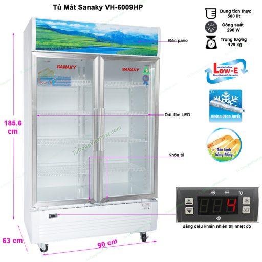 Kích thước tủ mát Sanaky VH-6009HP
