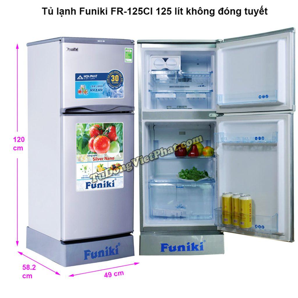 Kích thước tủ lạnh Funiki FR-125CI tủ mini 125 lít