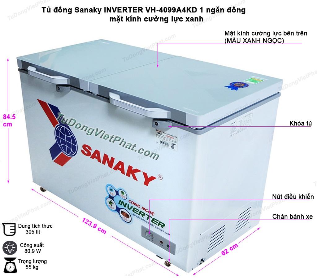 Kích thước tủ đông Sanaky INVERTER VH-4099A4KD mặt kính cường lực