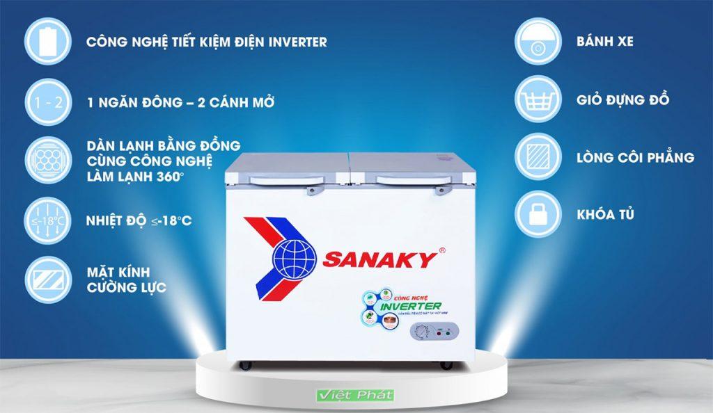 Tính năng của tủ đông Sanaky INVERTER VH-2899A4K