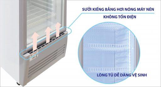 Mặt trước tủ mát Sanaky 300L VH-309K3L sấy kính bằng khí nóng
