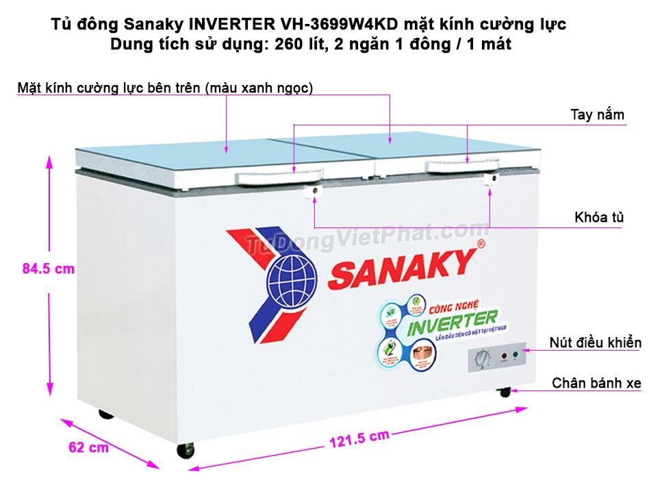 Kích thước tủ đông Sanaky INVERTER VH-3699W4KD