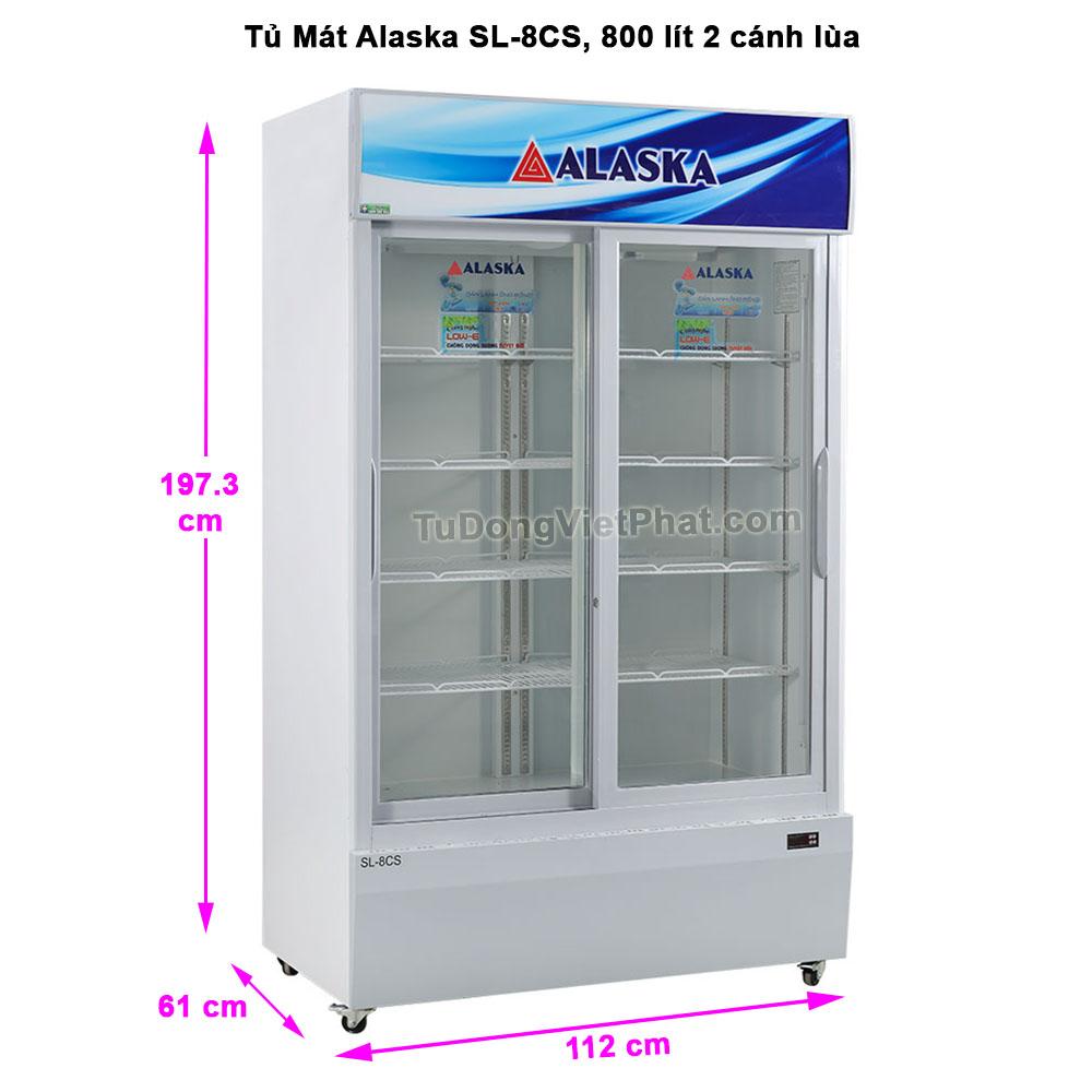 Kích thước tủ mát Alaska SL-8CS 800 lít 2 cánh lùa