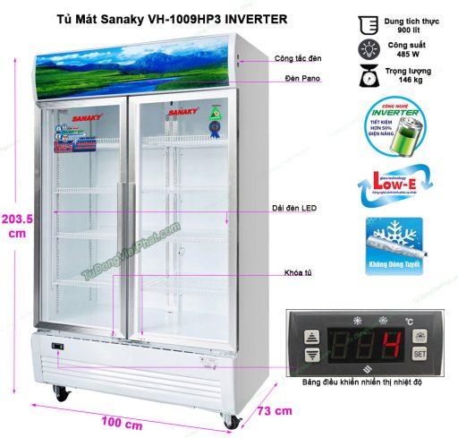 Kích thước tủ mát Sanaky VH-1009HP3 1000L