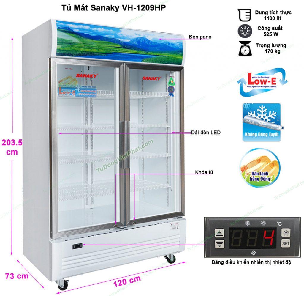 Kích thước tủ mát Sanaky VH-1209HP