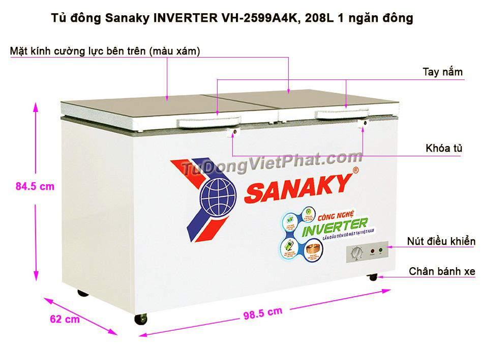 Kích thước tủ đông Sanaky INVERTER VH-2599A4K
