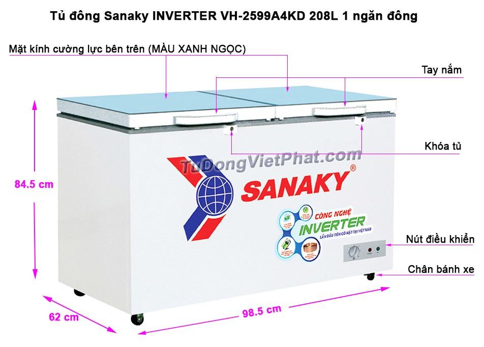 Kích thước tủ đông Sanaky INVERTER VH-2599A4KD