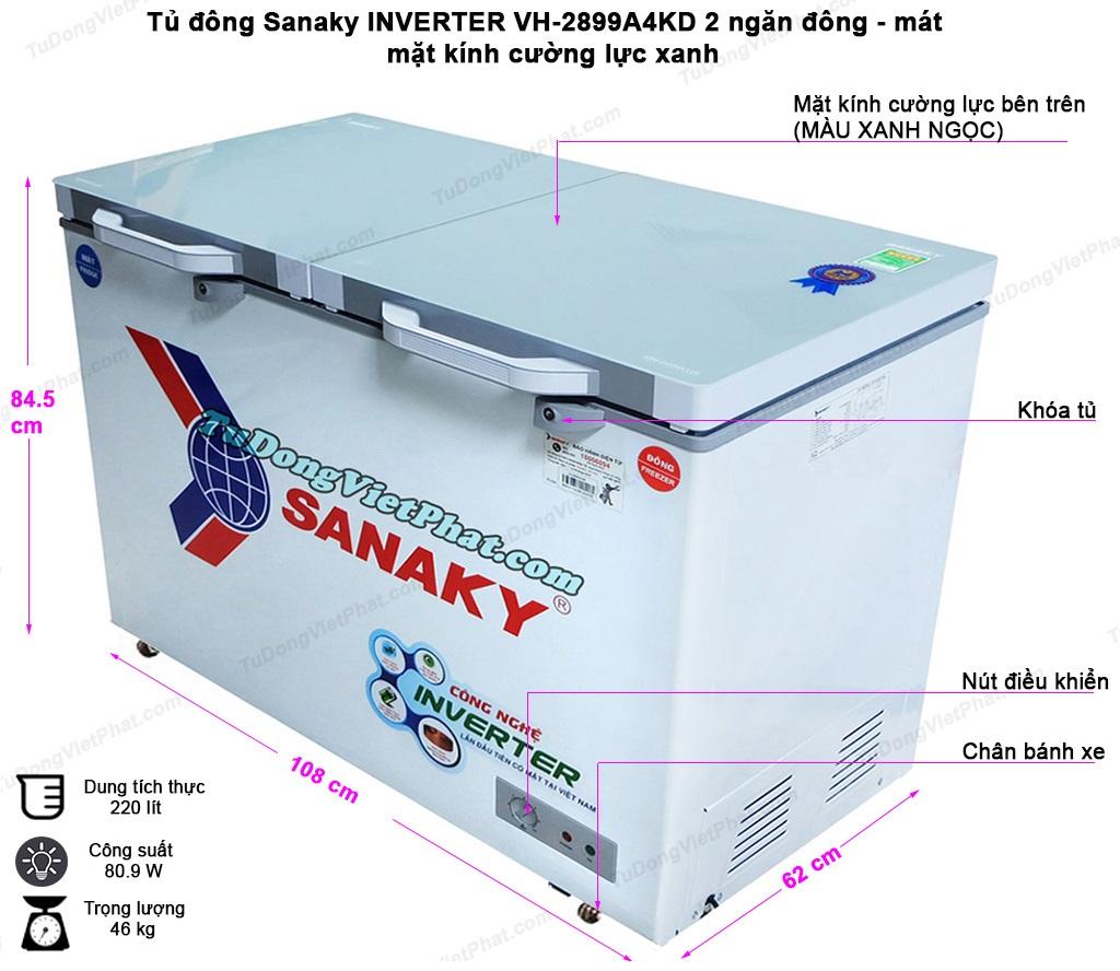 Kích thước tủ đông Sanaky INVERTER VH-2899W4KD