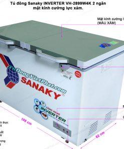 Kích thước tủ đông Sanaky INVERTER VH-2899W4K