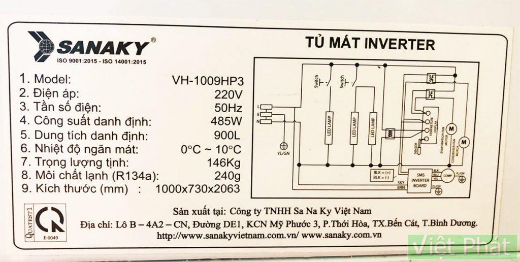 Tem sản phẩm - Tủ Mát Sanaky VH-1009HP3 1000L Inverter 2 cánh