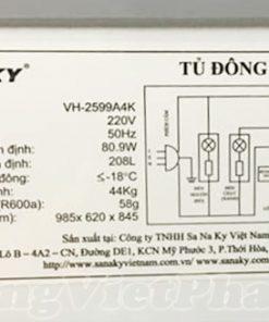 Tem máy tủ đông Sanaky INVERTER VH-2599A4K