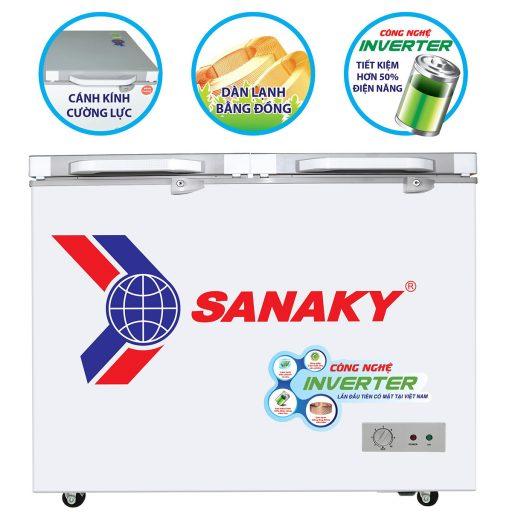 Tủ đông Sanaky INVERTER VH-2599A4KD mặt kính cường lực