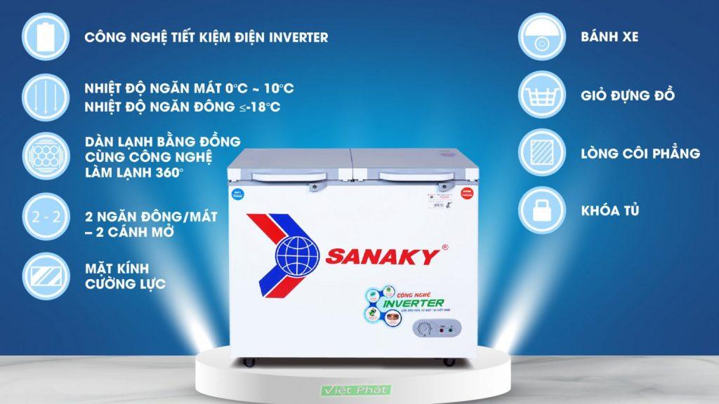 Tính năng của tủ đông Sanaky INVERTER VH-2599W4K