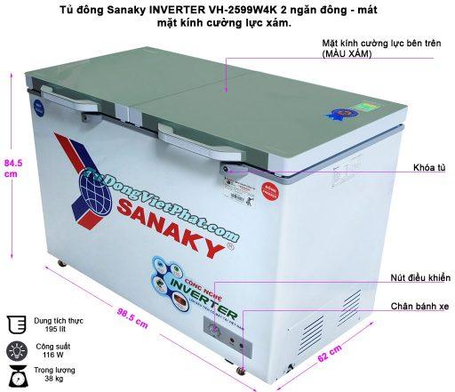 Kích thước tủ đông Sanaky INVERTER VH-2599W4K