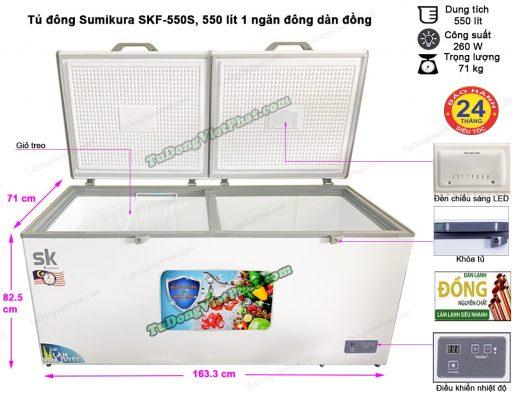 Kích thước tủ đông Sumikura SKF-550S