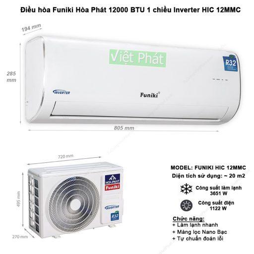 Điều hòa Funiki 12000 BTU 1 chiều Inverter HIC 12MMC