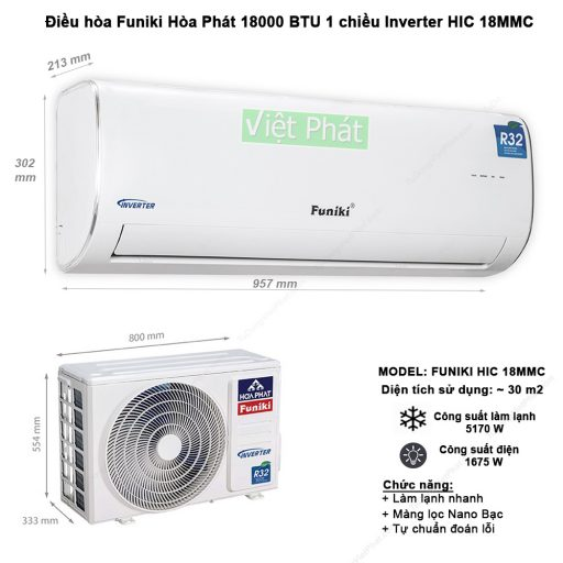 Điều hòa Funiki 18000 BTU 1 chiều Inverter HIC 18MMC