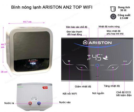 Kích thước bình Ariston AN2 30 TOP WIFI 2.5 FE 30 lít