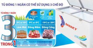 Tủ đông Sanaky thêm chức năng làm mát có thể bảo quản bia, nước ngọt