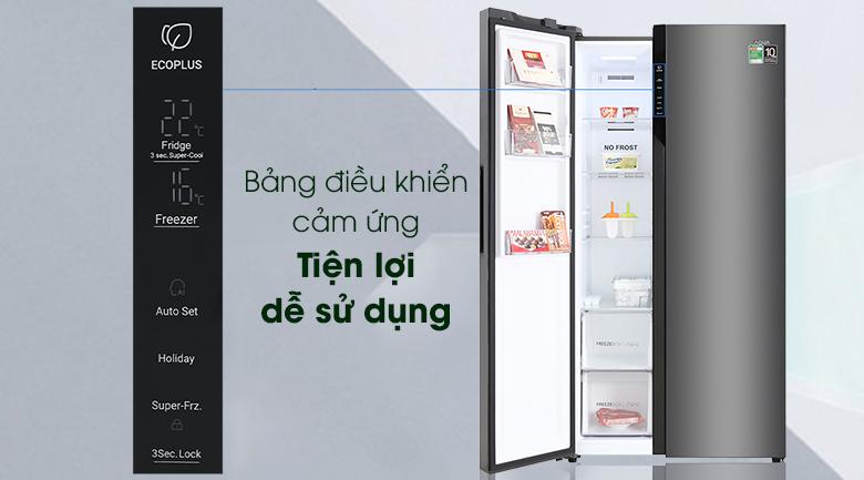 Tủ lạnh Inverter Aqua AQR-S541XA(BL) bảng điều khiển cảm ứng bên ngoài