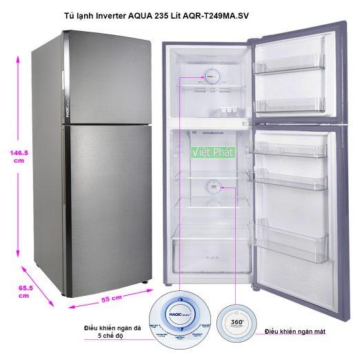 Kích thước tủ lạnh Inverter AQUA 235 Lít AQR-T249MA.SV mầu thép