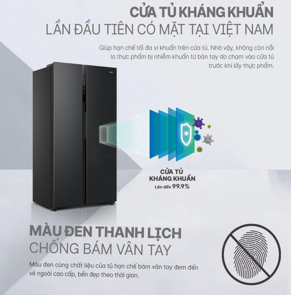 Tủ lạnh Inverter Aqua AQR-S541XA(BL) mặt cánh thép kháng khuẩn