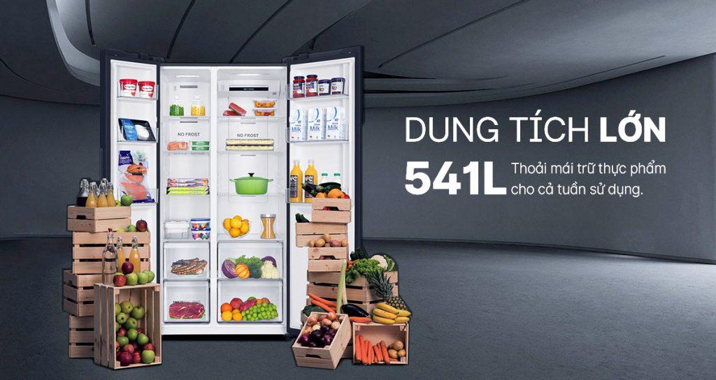 Tủ lạnh Inverter Aqua AQR-S541XA(BL) dung tích lớn