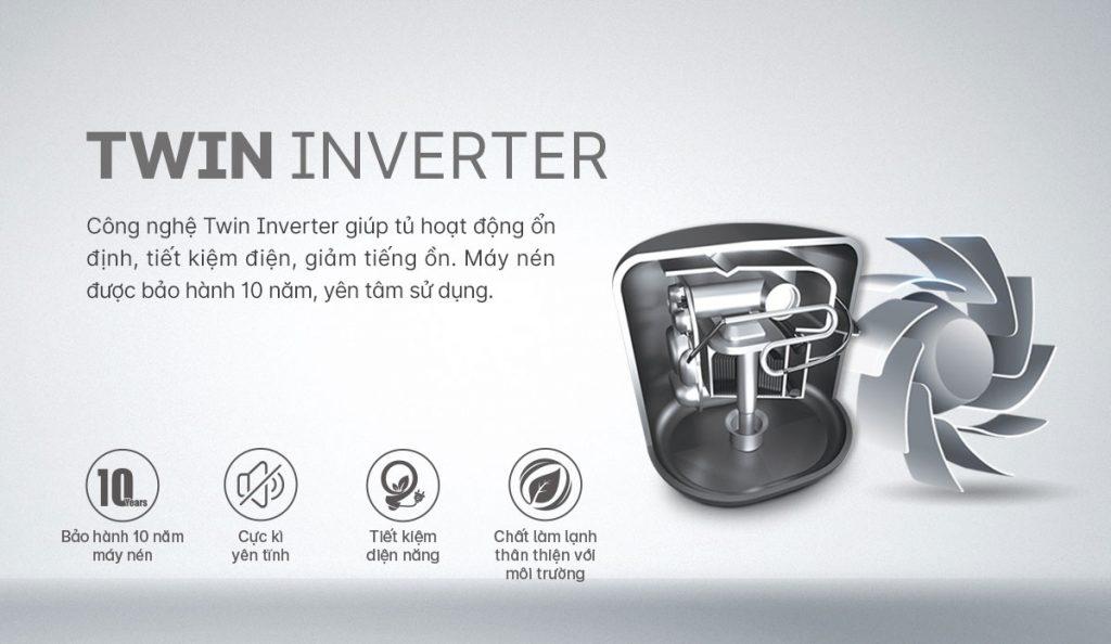 Tủ lạnh Inverter Aqua AQR-S541XA(BL) công nghẹ Twin Inverter