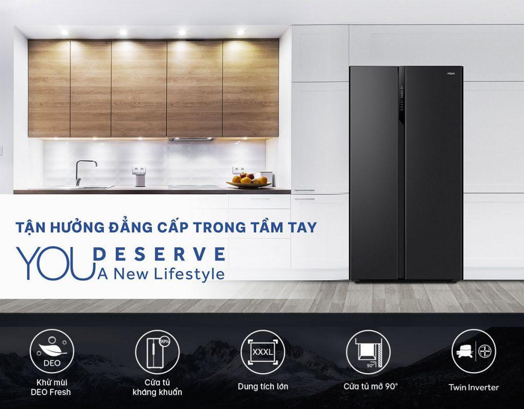Tủ lạnh Inverter Aqua AQR-S541XA(BL) 541L tích hợp hàng loạt công nghệ mới nhất