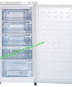 Bên trong tủ đông đứng Hòa Phát HUF 350SR1 147 lít 5 ngăn