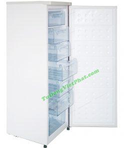 Bên trong tủ đông đứng Hòa Phát HUF 450SR1 208 lít 7 ngăn