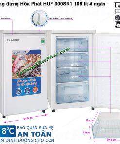 Kích thước tủ đông đứng Hòa Phát HUF 300SR1 106 lít 4 ngăn