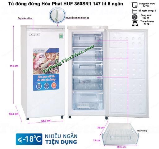Kích thước tủ đông đứng Hòa Phát HUF 350SR1 147 lít 5 ngăn
