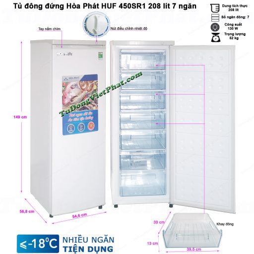 Kích thước tủ đông đứng Hòa Phát HUF 450SR1 208 lít 7 ngăn