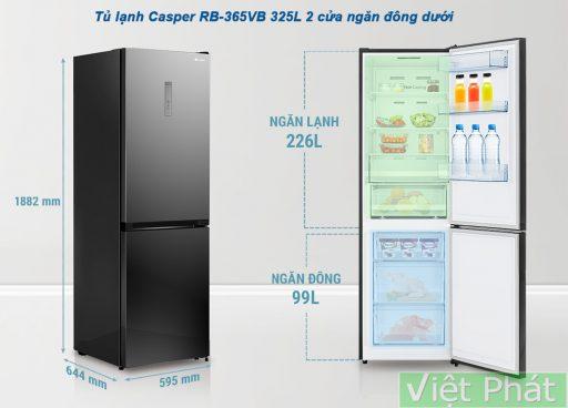Kích thước tủ lạnh Casper RB-365VB 325L 2 cửa ngăn đông dưới