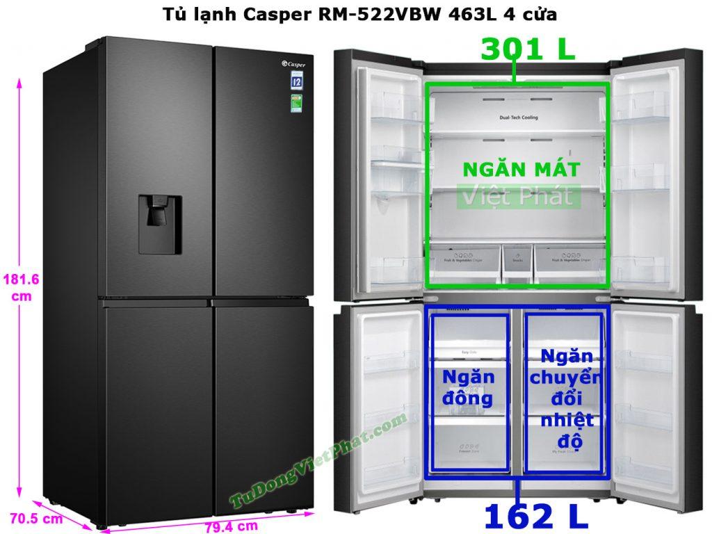 Kích thước tủ lạnh Casper RM-522VBW 463L 4 cửa