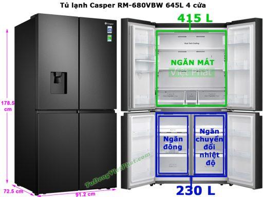 Kích thước tủ lạnh Casper RM-680VBW 645L 4 cửa
