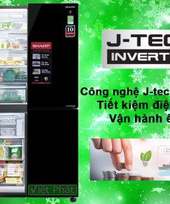 Tủ lạnh Sharp SJ-FXP600VG-BK công nghệ J-Tech inverter