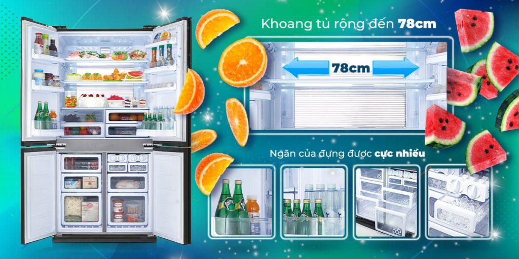 Tủ lạnh Sharp Inverter 678 lít SJ-FX680V-ST 4 cửa